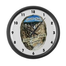 Lower Falls,Yellowstone Park Large Wall Clock