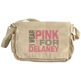 I wear pink for Delaney Messenger Bag