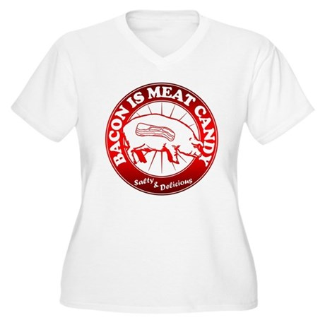 Bacon Is Meat Candy Women's Plus Size V-Neck T-Shi