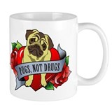 Pugs Banner Heart &amp; Roses - P Small Mug
