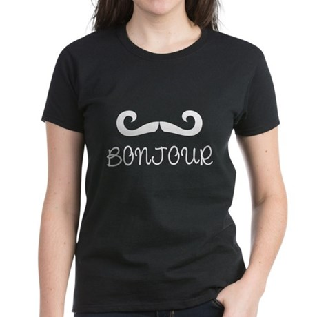 Bonjour Moustache Women's Dark T-Shirt