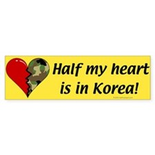 Half my heart is in Korea Bumper Car Sticker