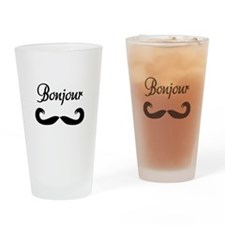 Bonjour Moustache Drinking Glass