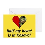 Half my heart is in Kosovo Greeting Cards (Package
