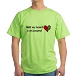 Half my heart is in Kosovo Green T-Shirt
