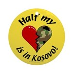 Half my heart is in Kosovo Keepsake (Round)