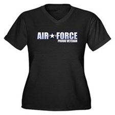 USAF Veteran Women's Plus Size V-Neck Dark T-Shirt