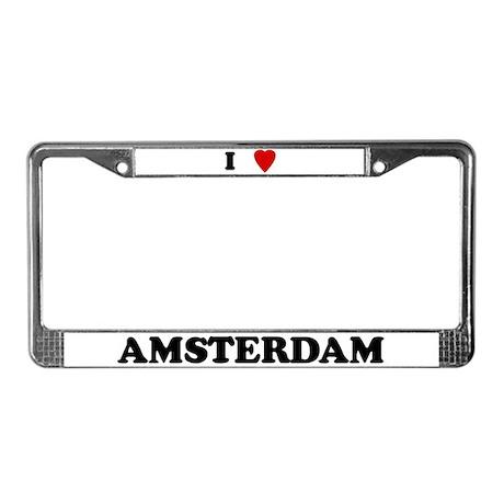 I Love Amsterdam License Plate Frame