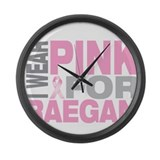 I wear pink for Raegan Large Wall Clock