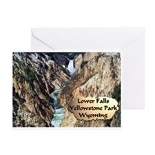 Lower Falls,Yellowstone Park 2 Greeting Cards (Pk