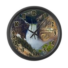 Lower Falls, Yellowstone Park 3 Large Wall Clock