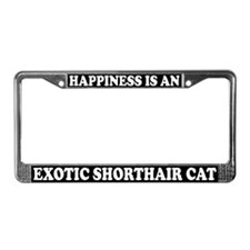 Happiness Exotic Shorthair Cat License Plate Frame