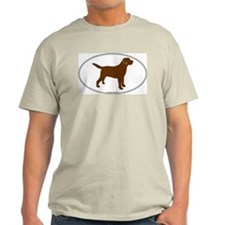 Chocolate Lab Outline Ash Grey T-Shirt