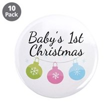 "Baby's 1st Christmas 3.5"" Button (10 pack)"