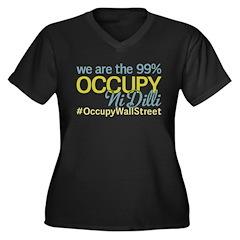 Occupy Ni Dilli Women's Plus Size V-Neck Dark T-Sh