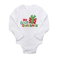 Present My 1st Christmas Long Sleeve Infant Bodysu