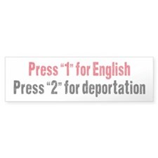 Press 1 for English Bumper Sticker