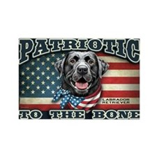 Patriotic - Black Lab Rectangle Magnet