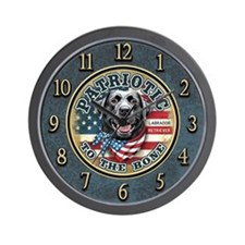 Patriotic - Black Lab Wall Clock