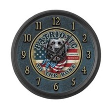 Patriotic - Black Lab Large Wall Clock