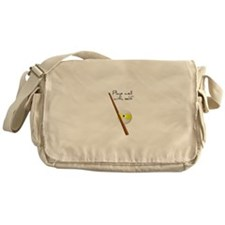 Plays Well, Sarastic Funny Messenger Bag