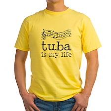 Tuba is My Life Music Gift Yellow T-Shirt