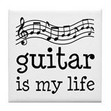 Guitar is My Life Music Gift Tile Coaster