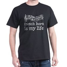 French Horn is My Life Music Gift Dark T-Shirt