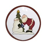 Santa Builds a Snowman Ornament (Round)