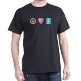 Peace Love Mahjong Black T-Shirt