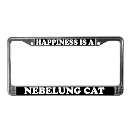 Happiness Is A Nebelung Cat License Plate Frame