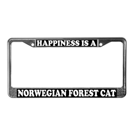 Happiness Norwegian Forest Cat License Plate Frame