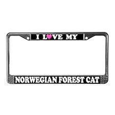 I Love My Norwegian Forest Cat License Plate Frame