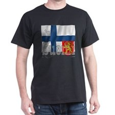 Silky Flag of Suomi Black T-Shirt