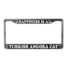 Happiness Turkish Angora Cat License Plate Frame