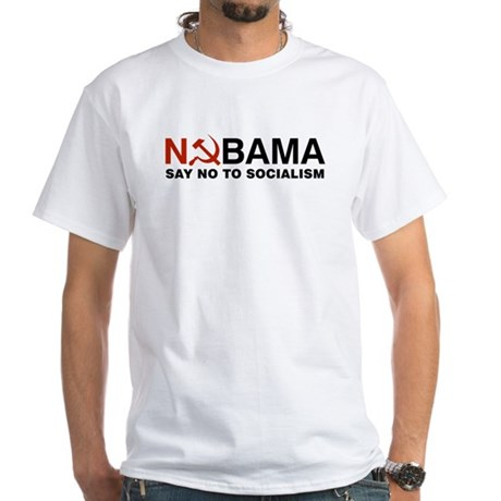 No Socialism White T-Shirt