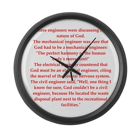 ... Gifts > Civil Living Room > funny engineering jokes Large Wall Clock