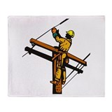 power lineman repairman Throw Blanket