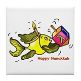 Hanukkah Fish Oval Tile Coaster