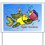 Hanukkah Fish Oval Yard Sign