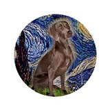 "Starry Night & Weimaraner (Nv 3.5"" Button"