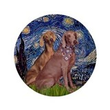 "Starry Night Weimaraners 3.5"" Button"