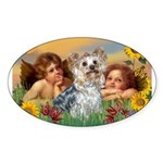 Angels with Yorkie Sticker (Oval)