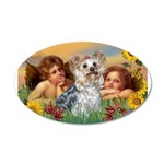 Angels with Yorkie 22x14 Oval Wall Peel