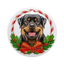 Rottweiler Wreath Ornament (Round)