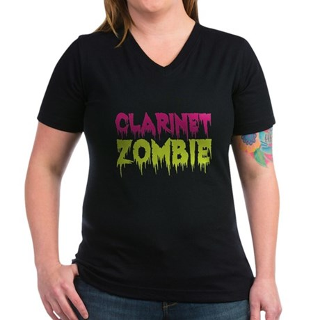 Clarinet Zombie Women's V-Neck Dark T-Shirt