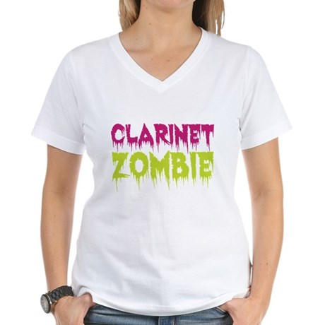 Clarinet Zombie Women's V-Neck T-Shirt