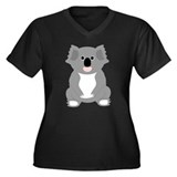 Koala Bear Design Women's Plus Size V-Neck Dark T-