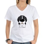 Big Nose Newfie Women's V-Neck T-Shirt