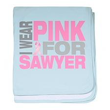 I wear pink for Sawyer baby blanket